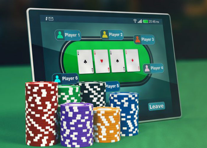 Online poker Tablet with poker on it with chips