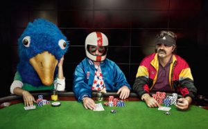Psychology of gambling Three poker players with different outfits